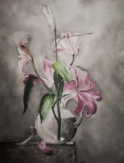Flowers In Vase Watercolor Painting
