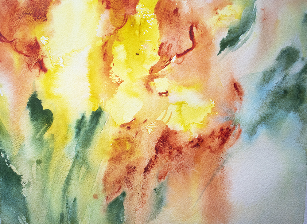 Gladiolus Watercolour Painting Abundance In Watercolor by Angela Feher