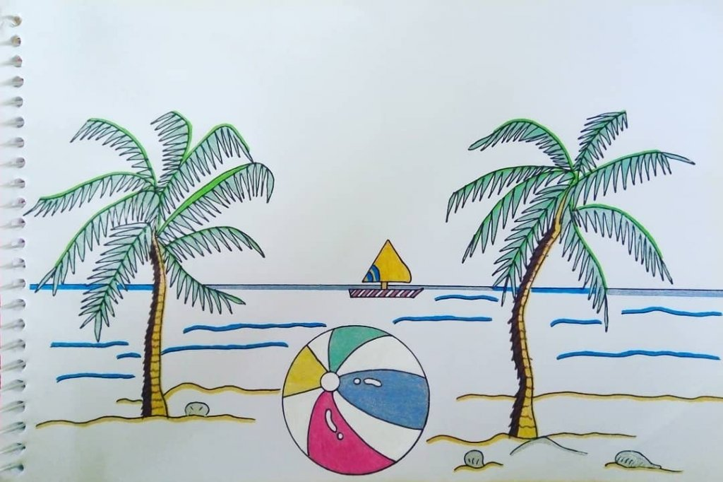 "for #doodlewashJune2020 prompt no.3 ""beachball"" I used #gelpens: M&G pastel 0.8 (white), @fl"