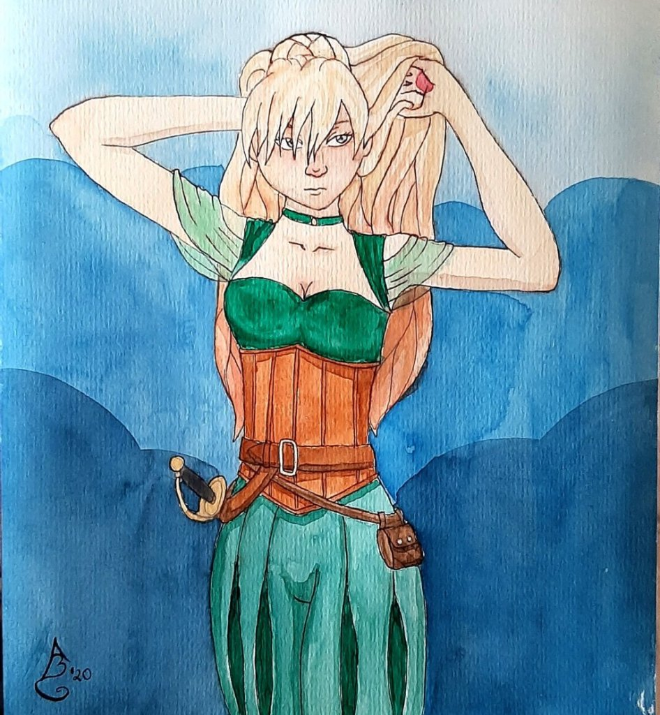 Started out with watercolors in May. First actual picture is of one of my dungeons&dragons chara