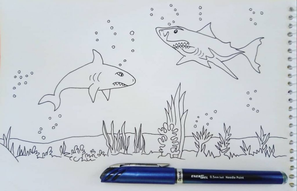 "yesterday I tried to simultaneously draw them for #doodlewashJune2020 prompt no.5-7 ""shark, half m"