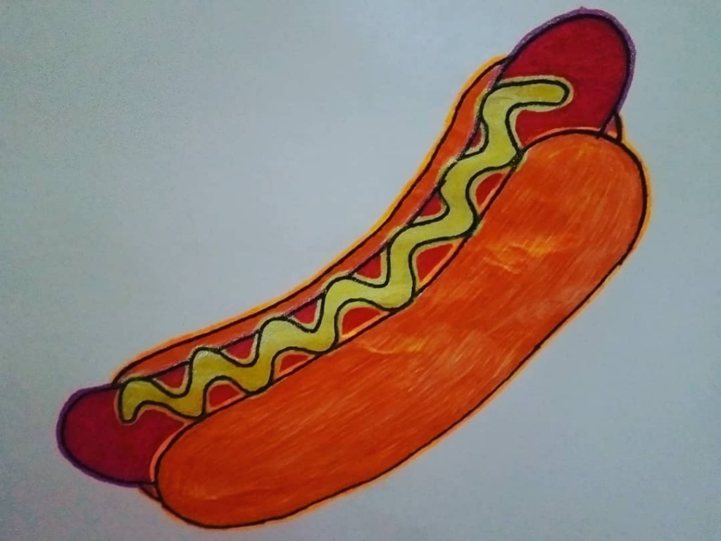 "for #doodlewashJune2020 prompt no.13 ""hot dog"" I used #gelpens: @flexofficephilippines 0.5 (oran"