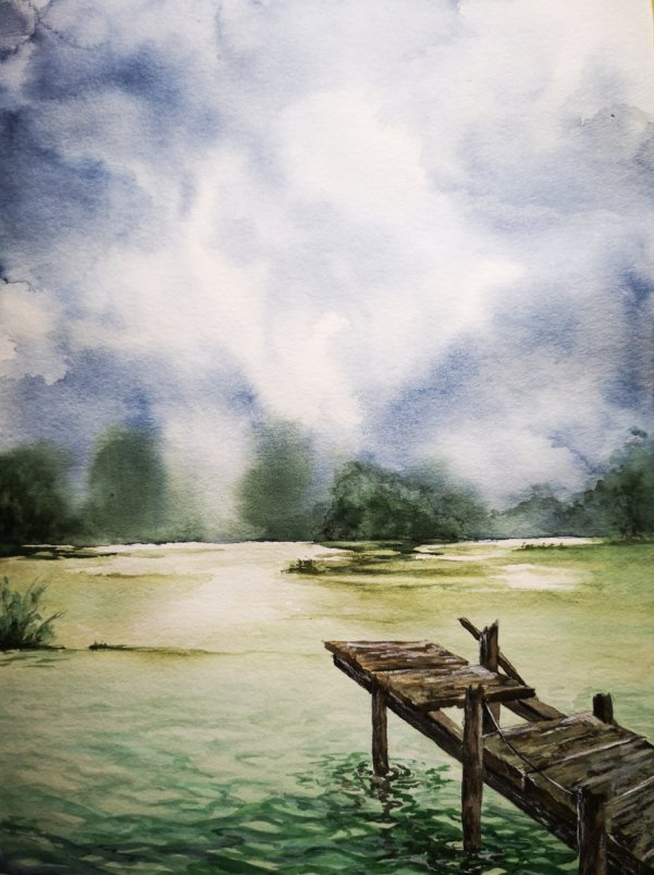 Lake And Dock Watercolor Painting