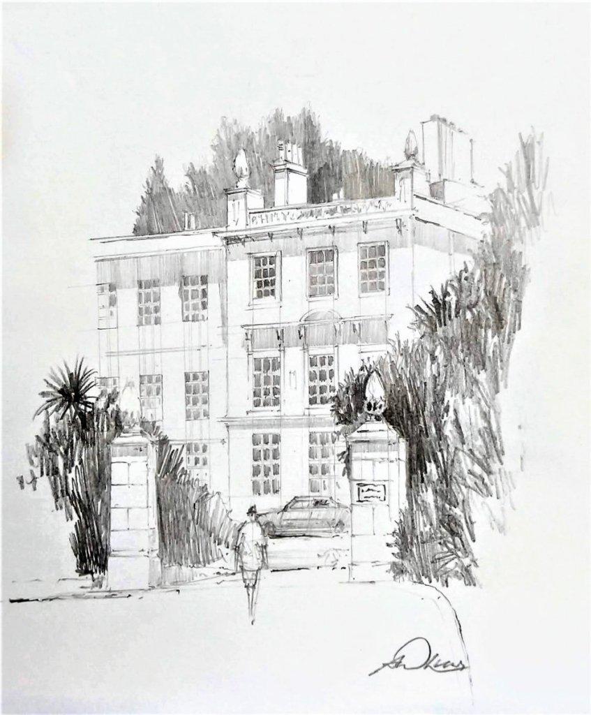 """"""" Lisburne Crescent """", Torquay, England. Andrew Lucas Pencil sketch, 20 x 16 cm, I hope"""