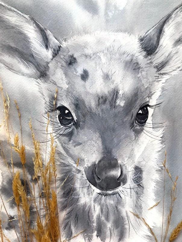 Nicoline Mann Art Baby Deer Watercolour Portrait