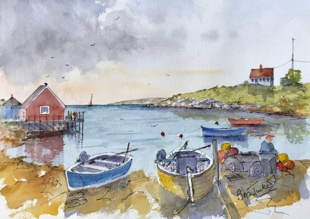 Peggy's Cove Brian Tucker Watercolour Artist Boats Painting