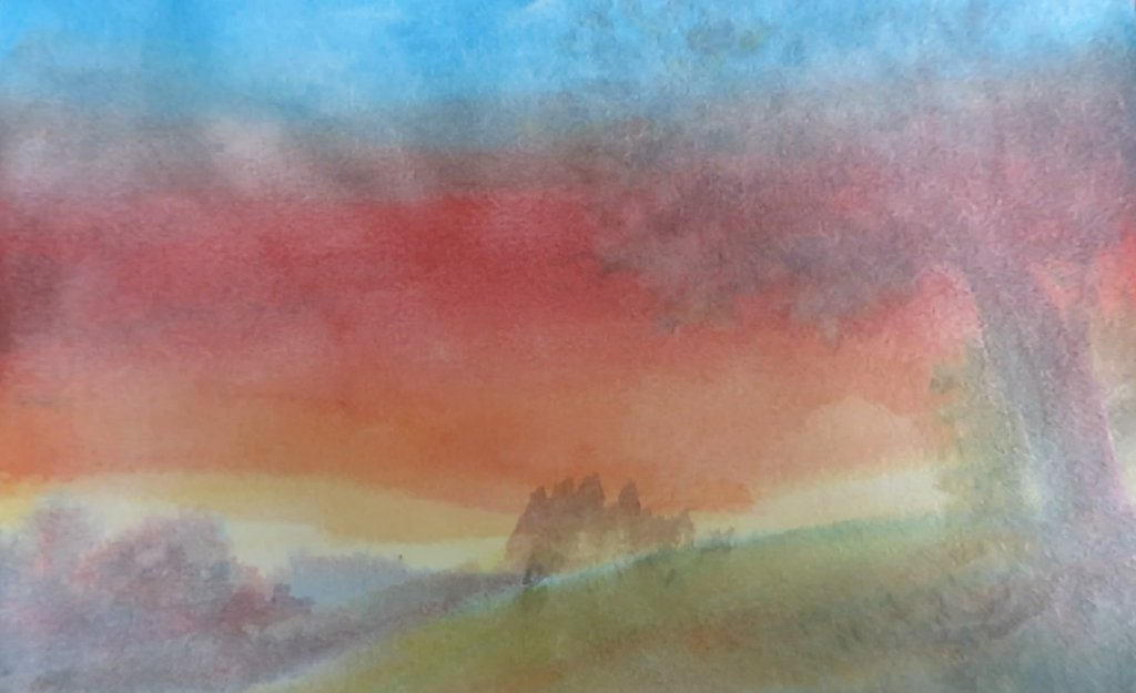 Scrubbing watercolor paper example