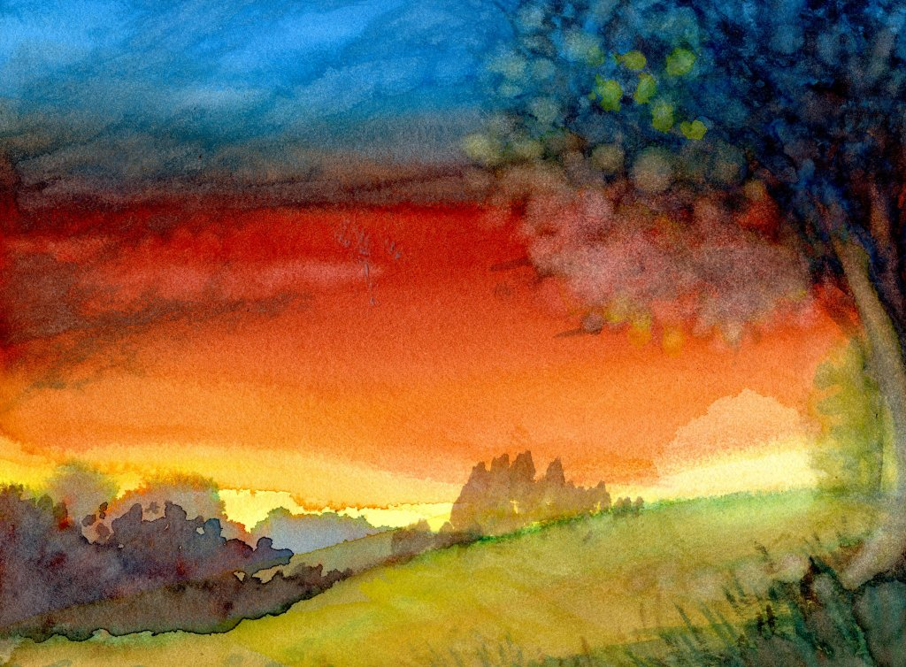 Sunset painting on The Collection Hahnemühle Paper by Sandra Strait