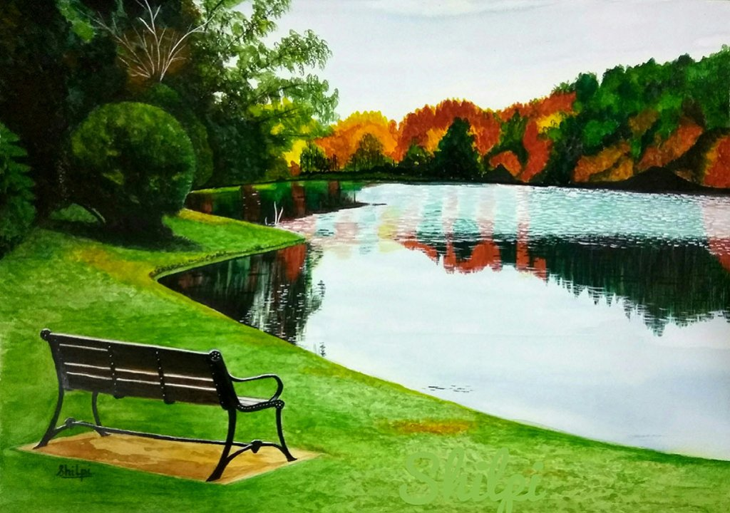 Shilpi Gupta Watercolor Painting Lanscape Grass Lake Trees