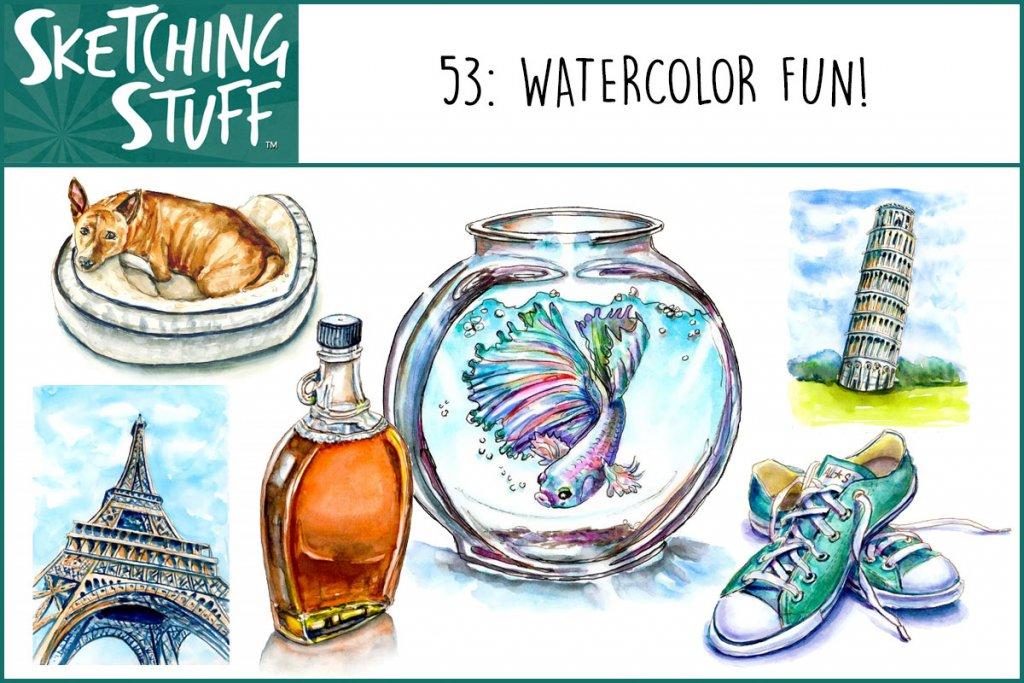 Sketching Stuff Episode 53 Watercolor Fun Album Art