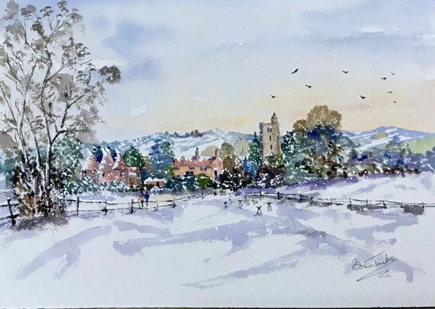Snow Scene Watercolor Painting Brian Tucker