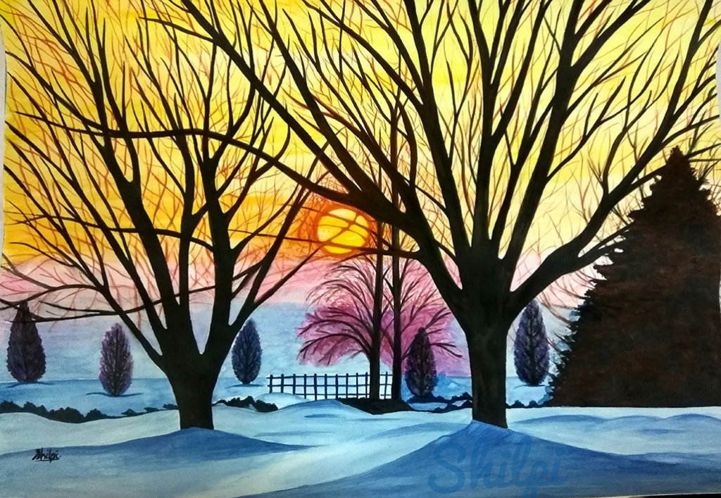 Watercolor Landscape At Sunset Simple by Shilpi Gupta