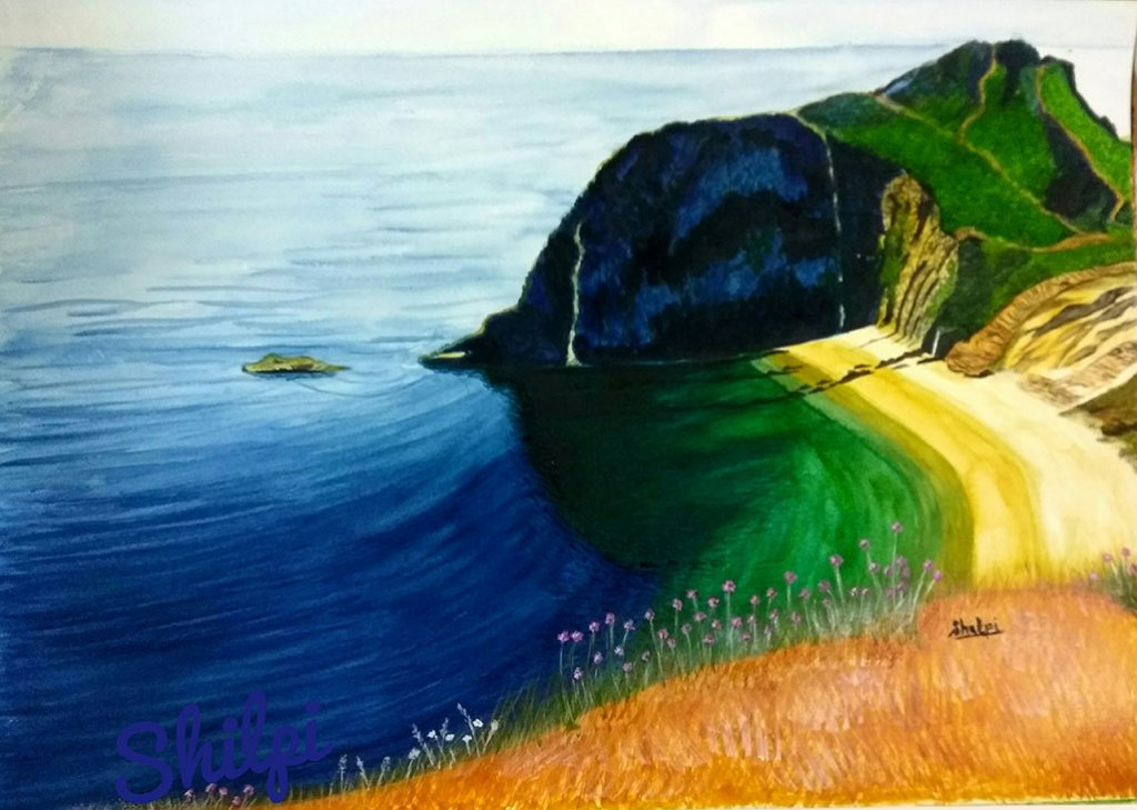 Watercolor Landscape Coastline by Shilpi Gupta