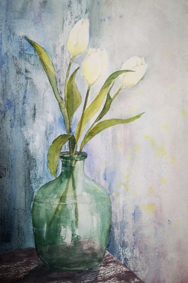 White Flowers In Glass Vase Watercolor Painting by Dagmar Olschewski