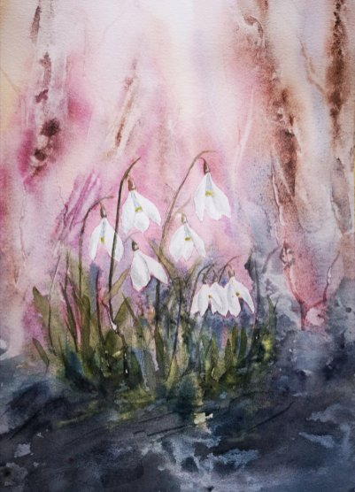 White Flowers Pink Background Watercolor Painting