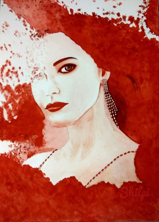 Woman In Red Watercolor Painting by Shilpi Gupta