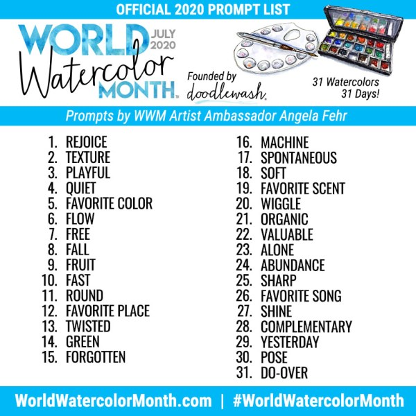 World Watercolor Month 2020 Official Prompt List