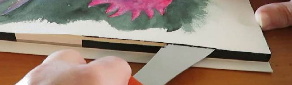 Removing watercolor paper from block after painting