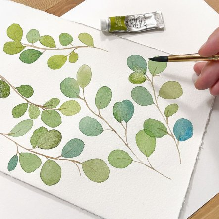 leaves watercolor painting