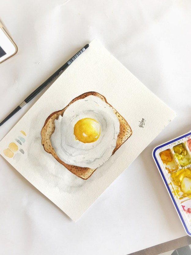 sunnysideup eggs on toast watercolor painting