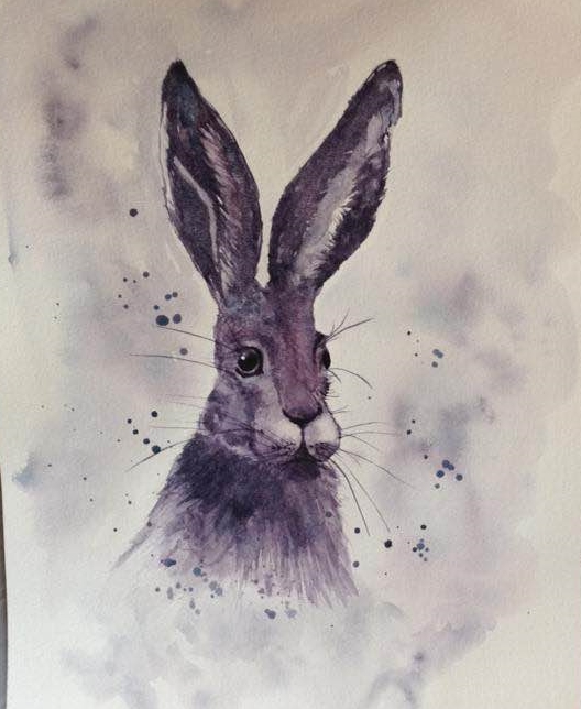 Hare – monochrome painting using Daniel Smith Moonglow. 103346290_10216659282980449_2769067988
