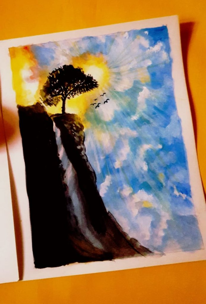 Day : 6 Topic : Flow Here is my waterfall painting with sun light and clouds video link : https://ww