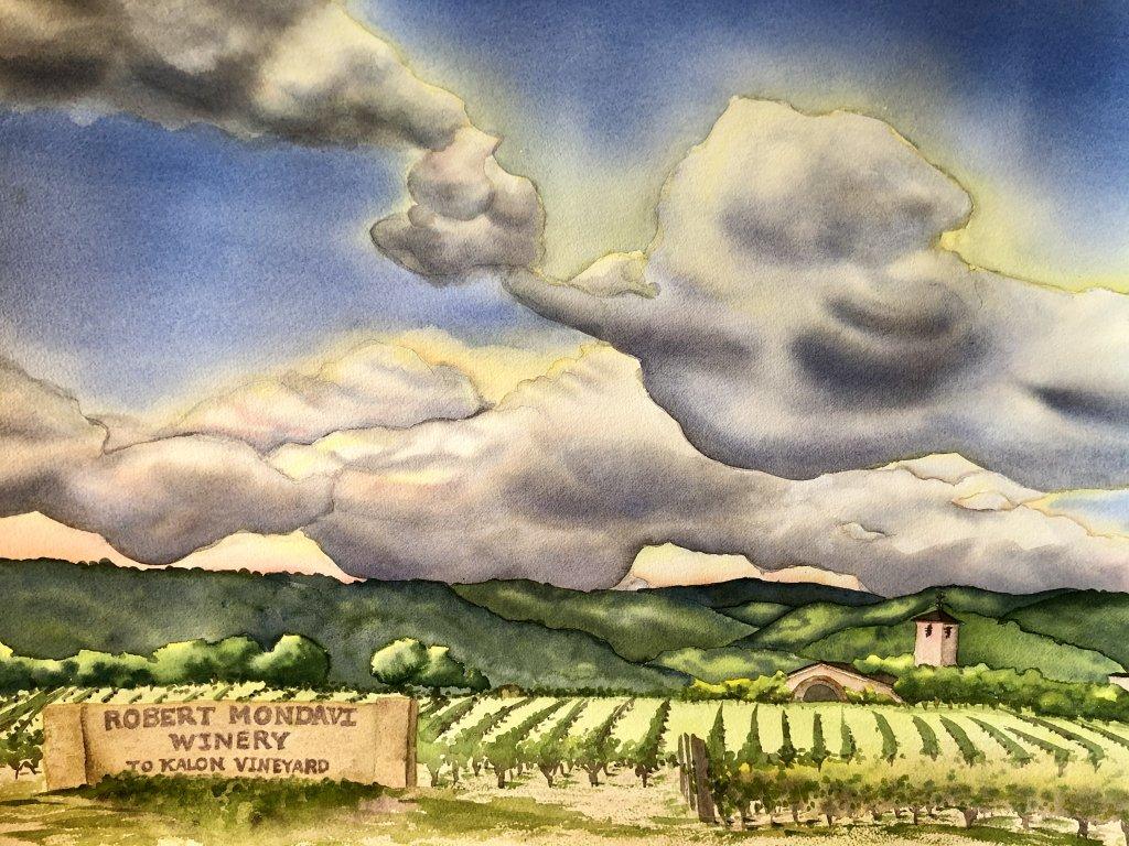 Rejoice in the beautiful spring sky over Mondavi Winery in Napa, California. 8646F11B-9FF9-4885-B0B6