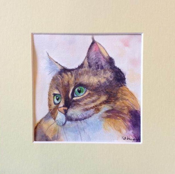 Happy Cat in an 8″ x 8″ frame mount Cat ref Kitipong Maksin
