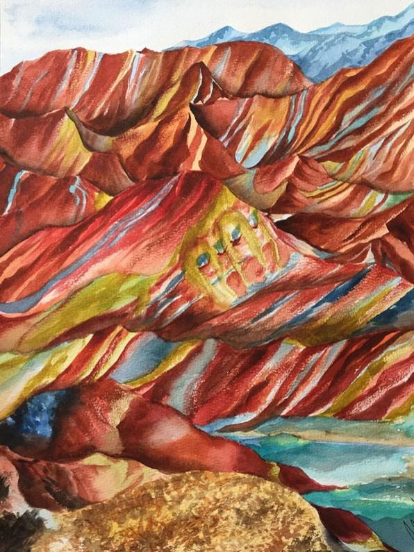Colorful Mountains Watercolor by Michelle Gonzalez