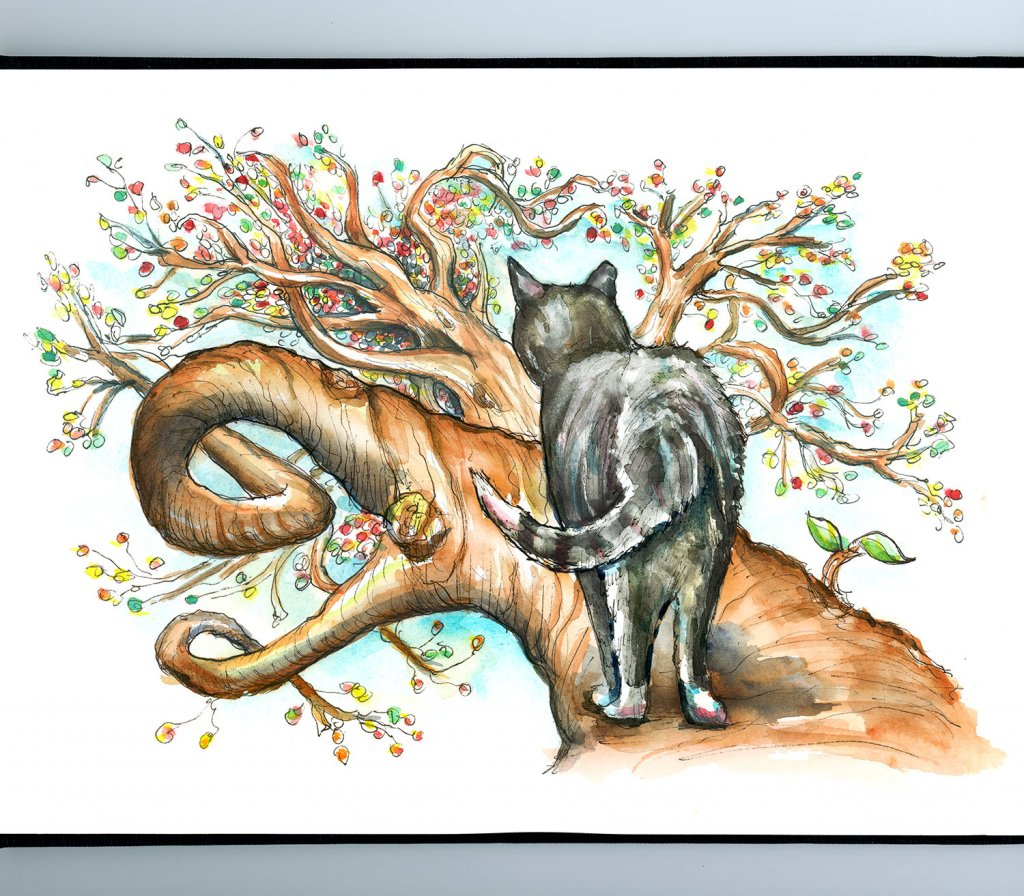Cat In Tree Twisted Branches Perspective Watercolor Palette Illustration Sketchbook Detail