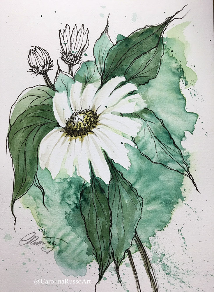 World Watercolor Month 2020 Day14 – Daisy Prompt: Green Day 14_Green