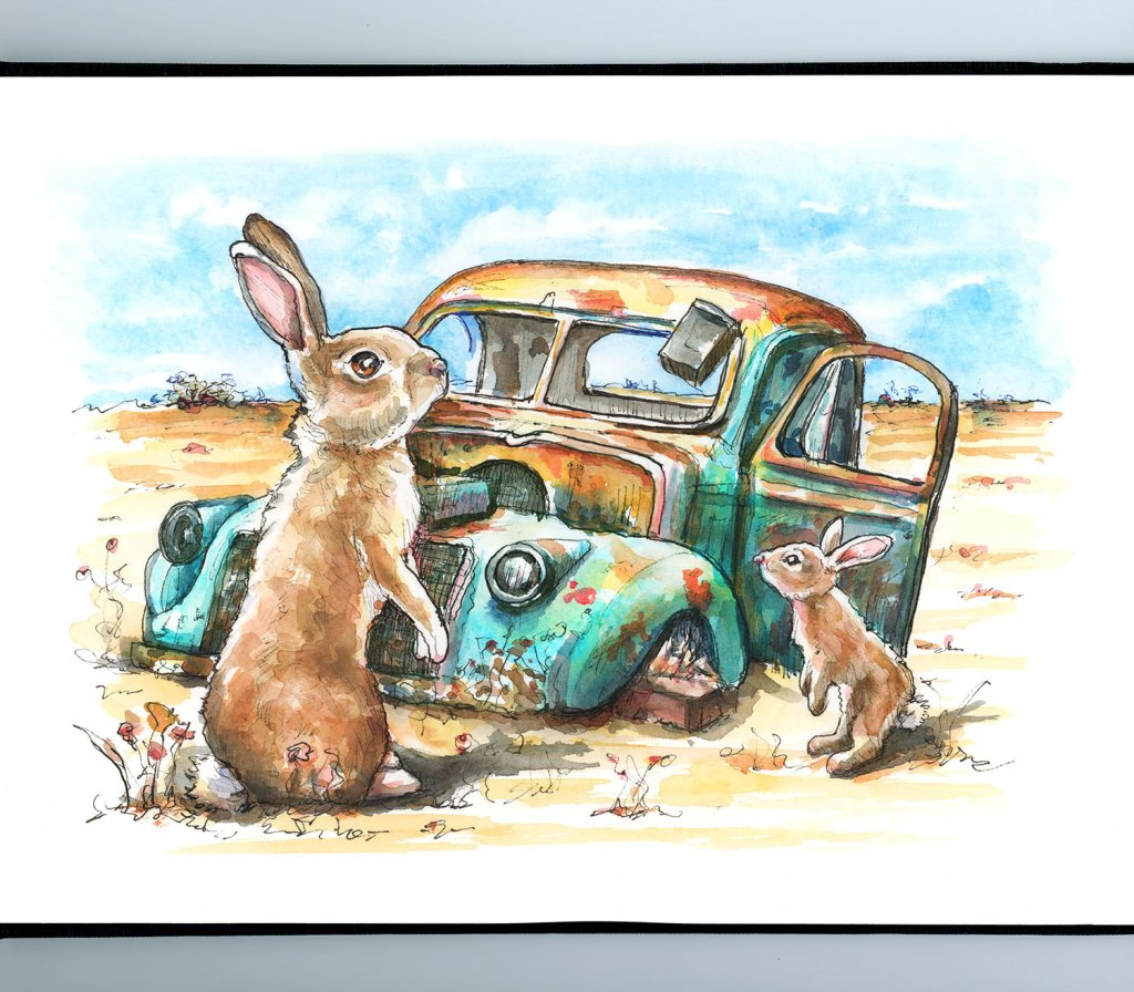 Rusted Car Abandoned Rabbits Watercolor Painting Illustration Sketchbook Detail