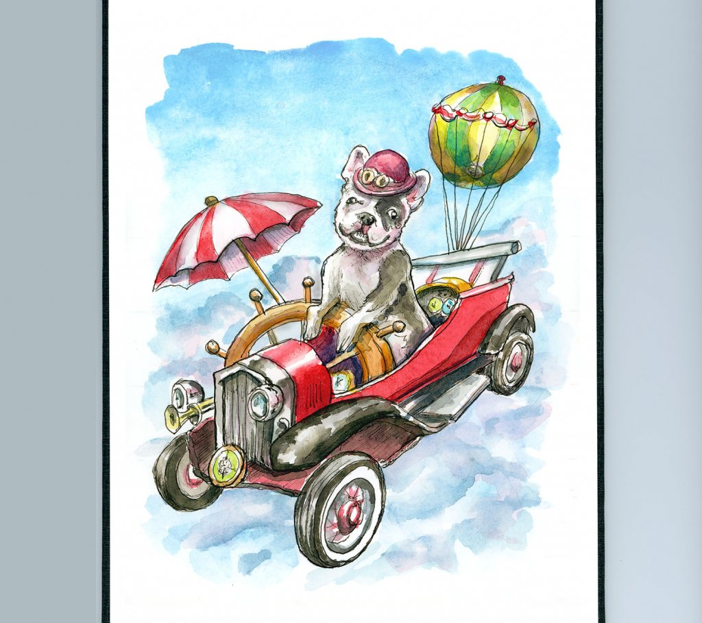 Steampunk Flying Machine French Bulldog Watercolor Painting Illustration Sketchbook Detail