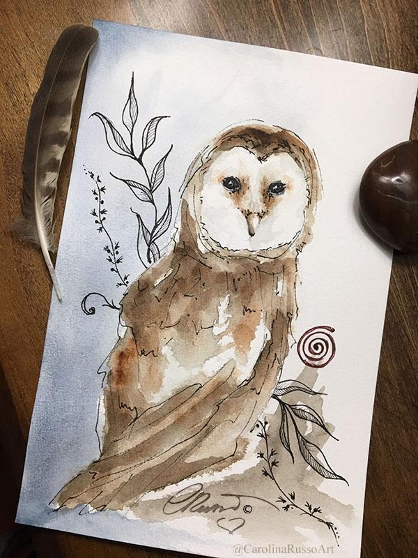 World Watercolor Month 2020 Day 17 – Owl Spirit Animal Day 17 Owl Spirit_s