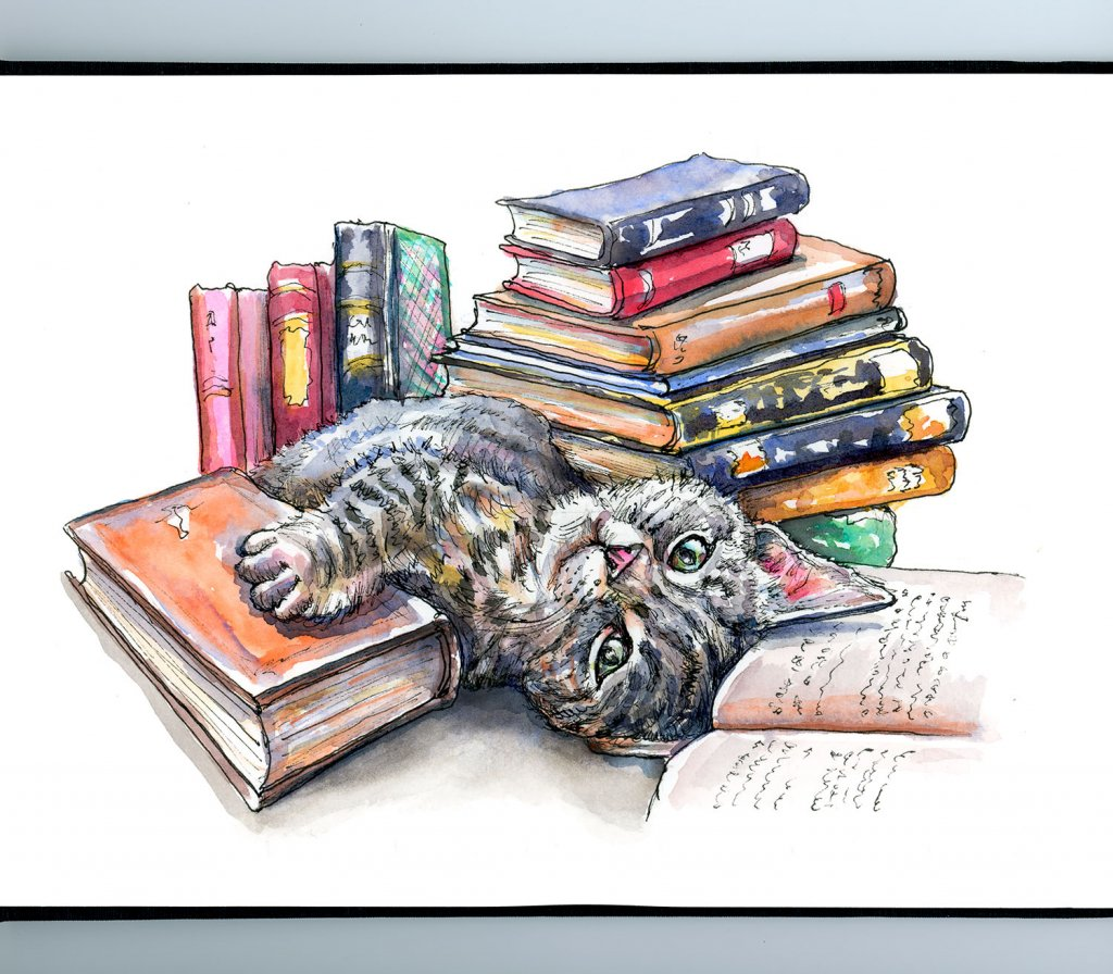 Smell Of Old Books Cat Watercolor Painting Illustration Sketchbook Detail