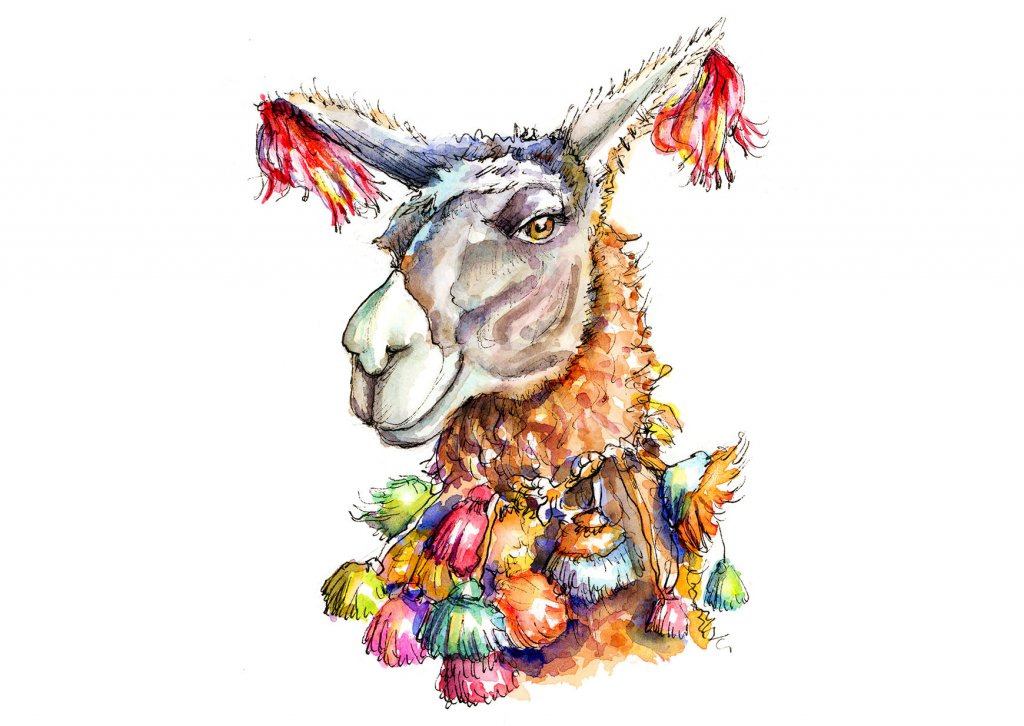 Llama Head Eyes Colorful Watercolor Illustration Painting