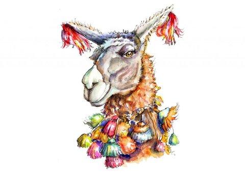 Llama Head Eyes Colorful Watercolor Illustration Painting