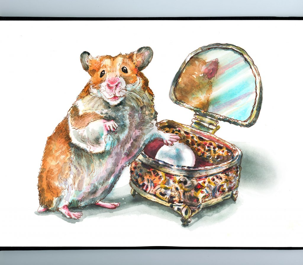 Antique Jewelry Box Golden Hamster Pearl Watercolor Painting Illustration Sketchbook Detail