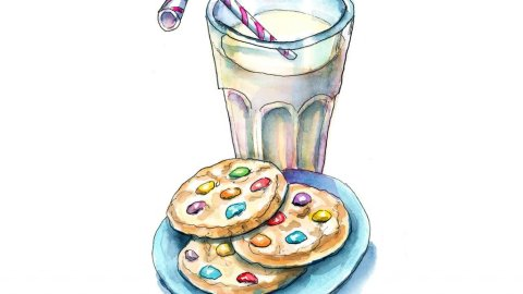 Cookies And Milk With Straw Watercolor Painting Illustration