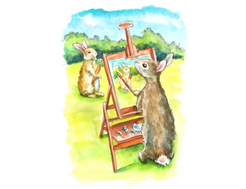 Bunny With Paintbrush Painting Another Bunny Plein Air Watercolor Painting Illustration