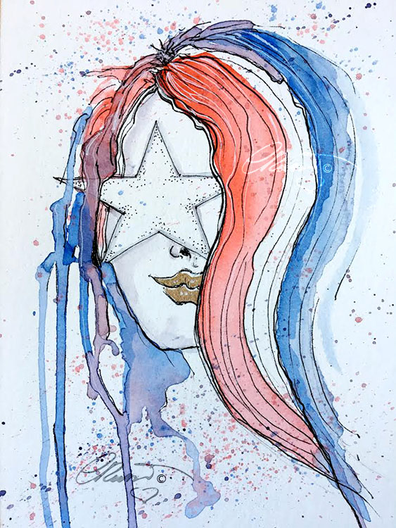 World Watercolor Month – Day 4 Red, White and Blue Day 4 Red White And Blue1_s
