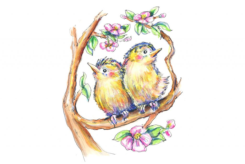 Two Birds In Tree Branches Flowers Watercolor Illustration Painting