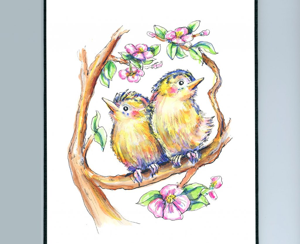 Two Birds In Tree Branches Flowers Watercolor Illustration Painting Sketchbook Detail