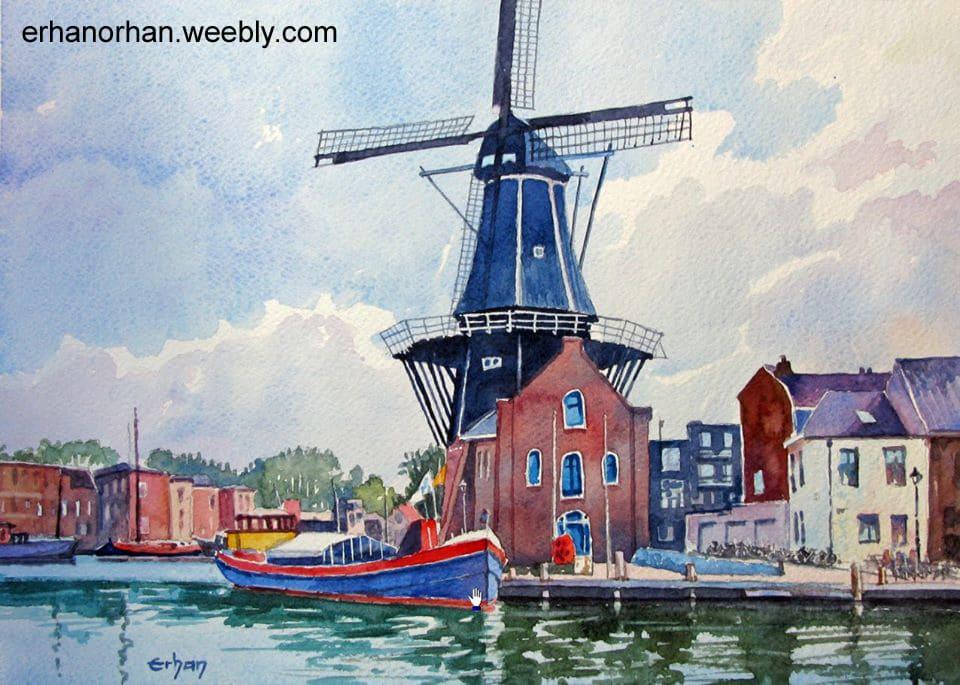 "Windmill ""De Adriaan"" Haarlem, Holland, watercolor 26×36 cm _Erhan Orhan-De Adriaan"
