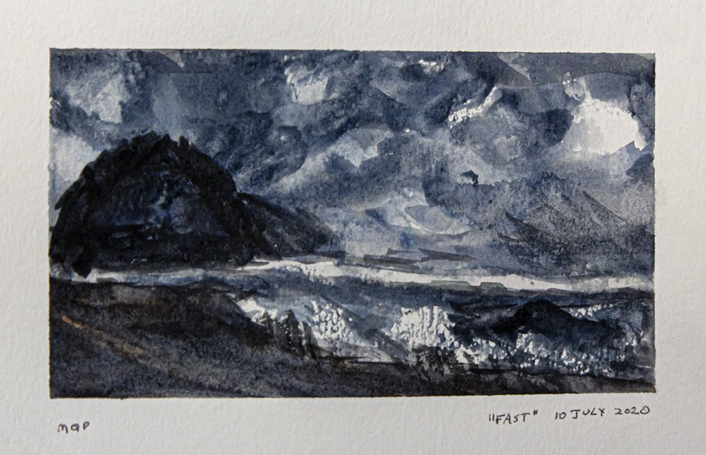 """Day 10 of World Watercolor Month and prompt was """"FAST,"""" so I quickly painted this stormy"""