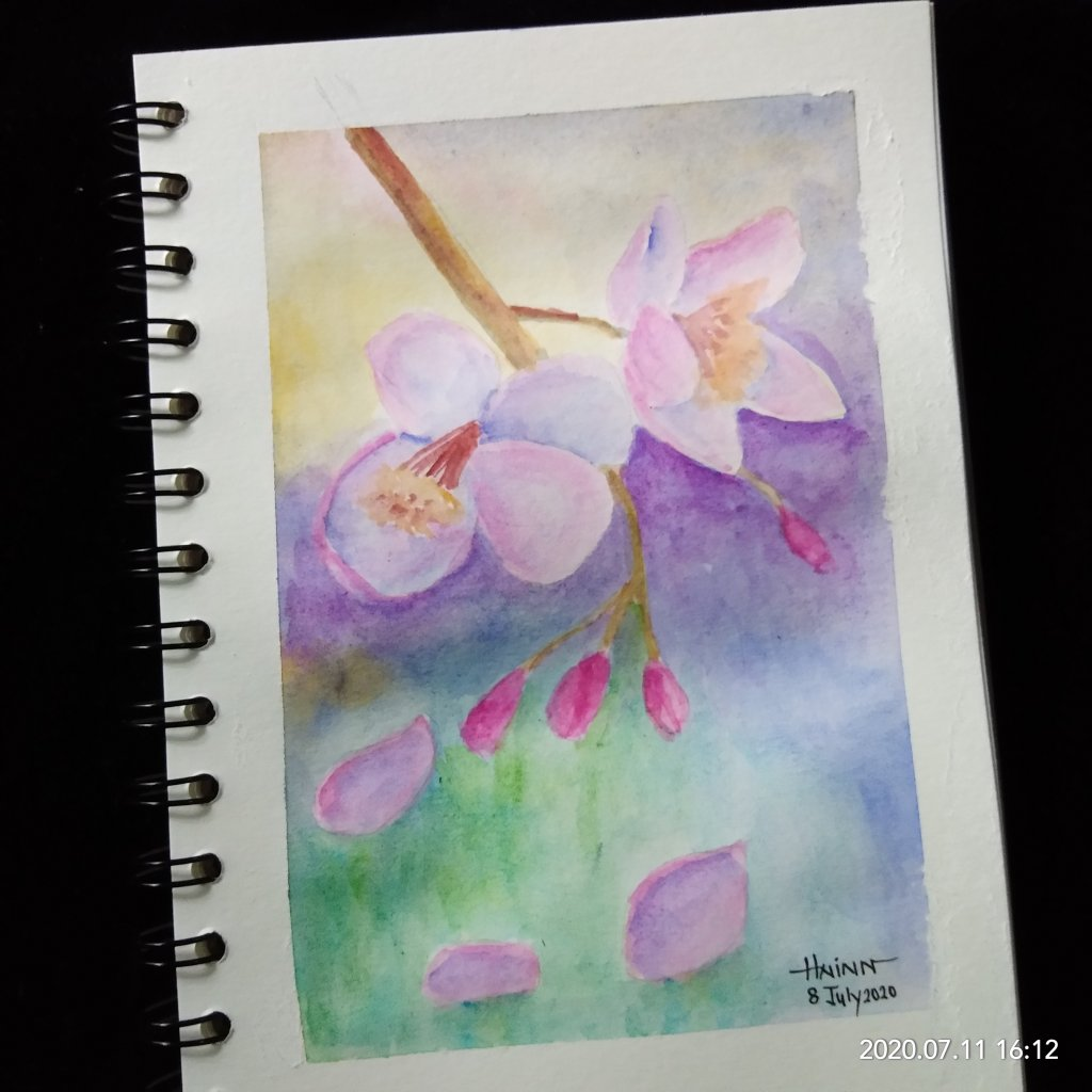 #doodlewashJuly2020 #WorldWatercolorMonth #Beginner #8 #Fall (fall of flowers) #8July2020 Prompt&#82