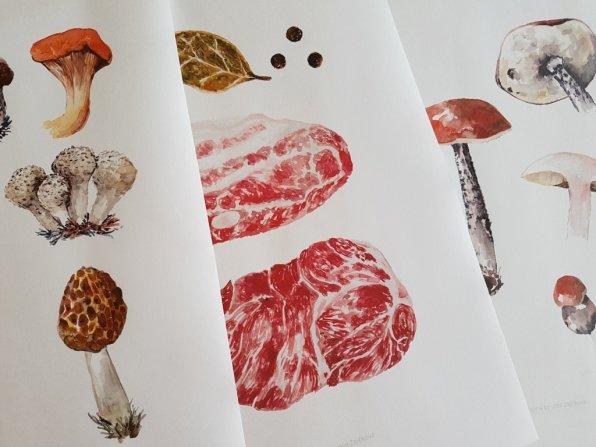 Mushrooms Watercolor by Jitka Zajíčková