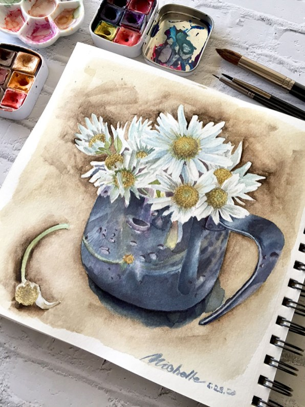 Pot With With Flowers Watercolor Painting