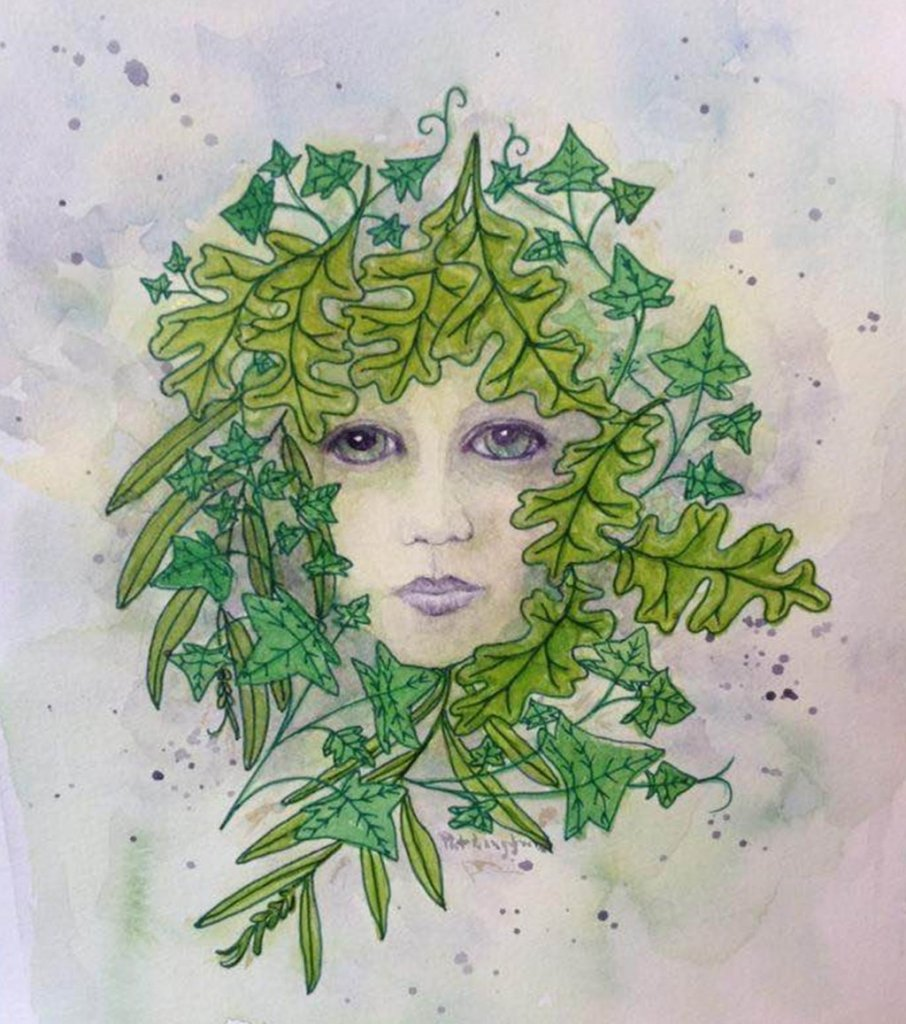 Green Woman – a whimsical style watercolour and ink painting/doodle The Green Woman