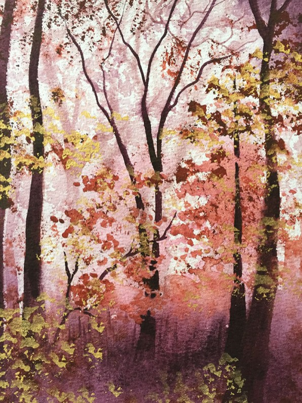 Trees Atmospheric Watercolor Painting by Michelle Gonzalez